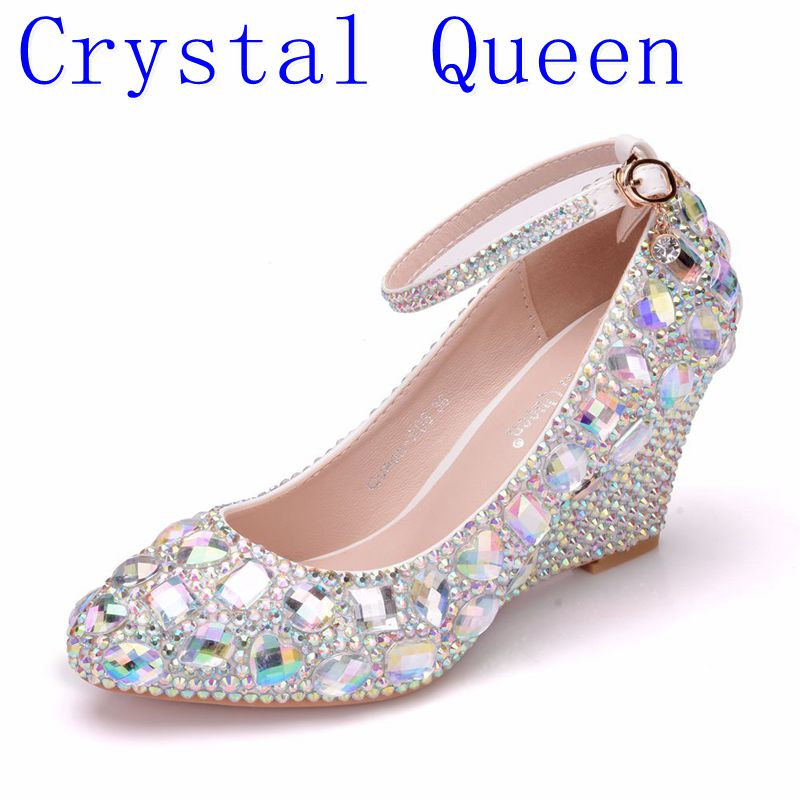 Crystal Queen Womens Wedding Shoes Woman High heels Pumps Bling Shining Platform Wedge shoes Ladies Party