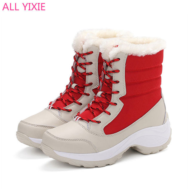 ALL YIXIE 2019 Winter Woman Shoes Waterproof Winter Ankle Snow Boots Women Platform Winter Shoes with Thick Fur Botas Mujer
