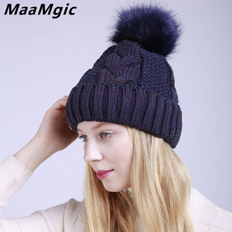 Wholesale 2017 New Pom Poms Winter Hat for Women Girl Fashion Solid Warm Hat Knitted Skullies Beanies Cap Brand Thick Female Cap hot skullies beanies winter hat pom pom caps for women girl vintage solid hemming warm spring autumn hat female wsep21