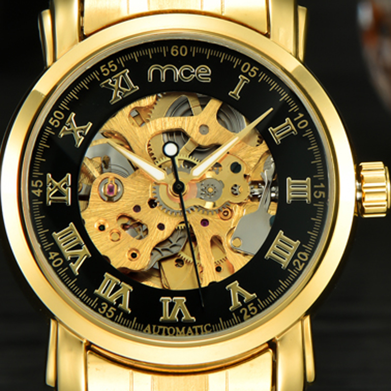 2018 new MCE brand Automatic Mechanical Watches for men fashion Skeleton Business Watch Casual Gold stainless steel clock 336 mce men s fashion stainless steel band analog mechanical watch black silver
