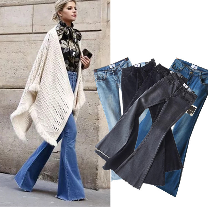 Jeans Bottoms 2018 Retro Style Hot Flared Pants Jeans Summer Stretch Jeans Flared Pants Women Wide Leg Pants Fashion Casual Versatile Jeans Delicious In Taste