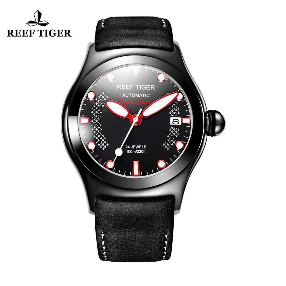 Reef Tiger/RT мужские повседневные спортивные часы с датой темно-коричневые CalfskinLeather светящиеся Автоматические наручные часы RGA704