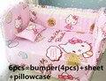 Promoción! 6 unids Hello Kitty cuna lecho Bumpers hoja para bebés cuna kit, incluye :( bumper + hoja + almohada cubre )