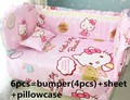 Promotion! 6PCS Hello Kitty Baby Crib Bedding set Bumpers Sheet for babies cot kit ,include:(bumper+sheet+pillow cover)
