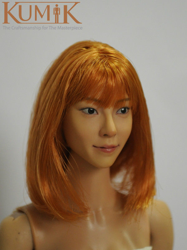 """KUMIK 1/6 Scale Female Head Sculpts Accessory Girl Golden Hair Carving 13-85 Model Toys F 12 inch"""" Action Figure Body """""""