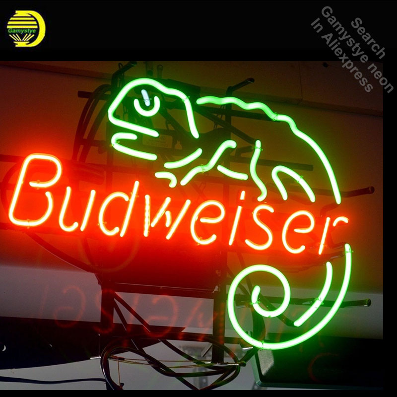 цена Budweise Lizard Neon Sign Lite Handcrafted Neon Bulbs Unique Glass Tube Iconic Decorate Bar Room Lamp light signs Dropshipping в интернет-магазинах