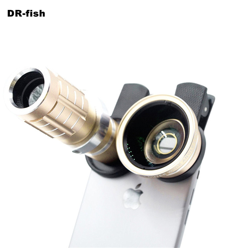 HD Phone lenses kit 12x Zoom Telephoto 0.45X Wide Angle 15X Super Macro Lens For iPhones Samsung Smartphones Clip Camera Lenses