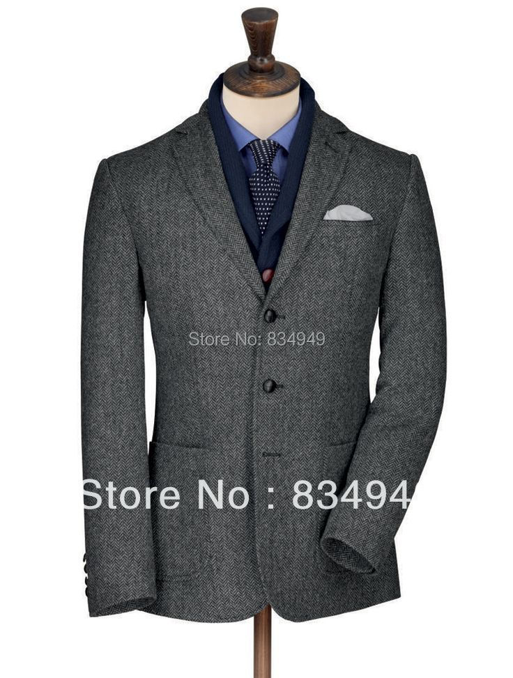 Herringbone Tweed Jacket Custom Made Dark Grey Tweed Suit Tailor Made Jacket Mens Vintage Tweed Jackets 2016 Tweed Winter Blazer