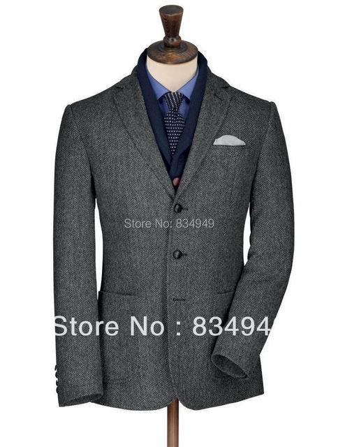 Herringbone Tweed Jacket Custom Made Dark Grey Tweed Suit Tailor ...