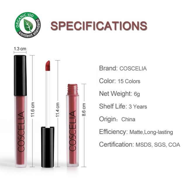COSCELIA 15 Colors Waterproof Matte Lipstick Red Lip Long Lasting Lipstick Matte For Makeup Red Lip Matte Long Lasting Gift 1