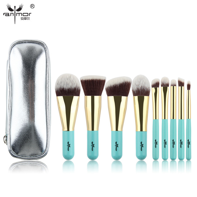 Anmor Hot Sale 9 Pieces Synthetic Hair Makeup Brushes with Sliver Color Bag Beautiful Traveling Makeup Brush Set