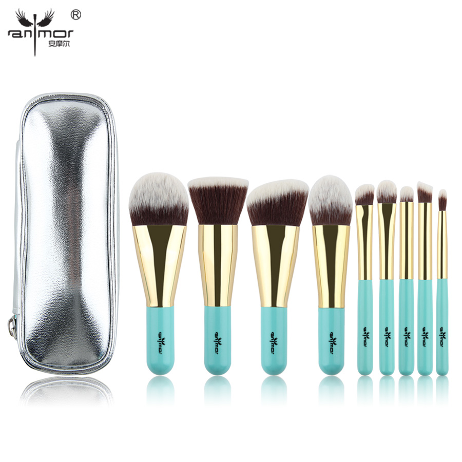 Anmor Hot Sale 9 Pieces Synthetic Hair Makeup Brushes with Sliver Color Bag Beautiful Traveling Makeup Brush Set B001