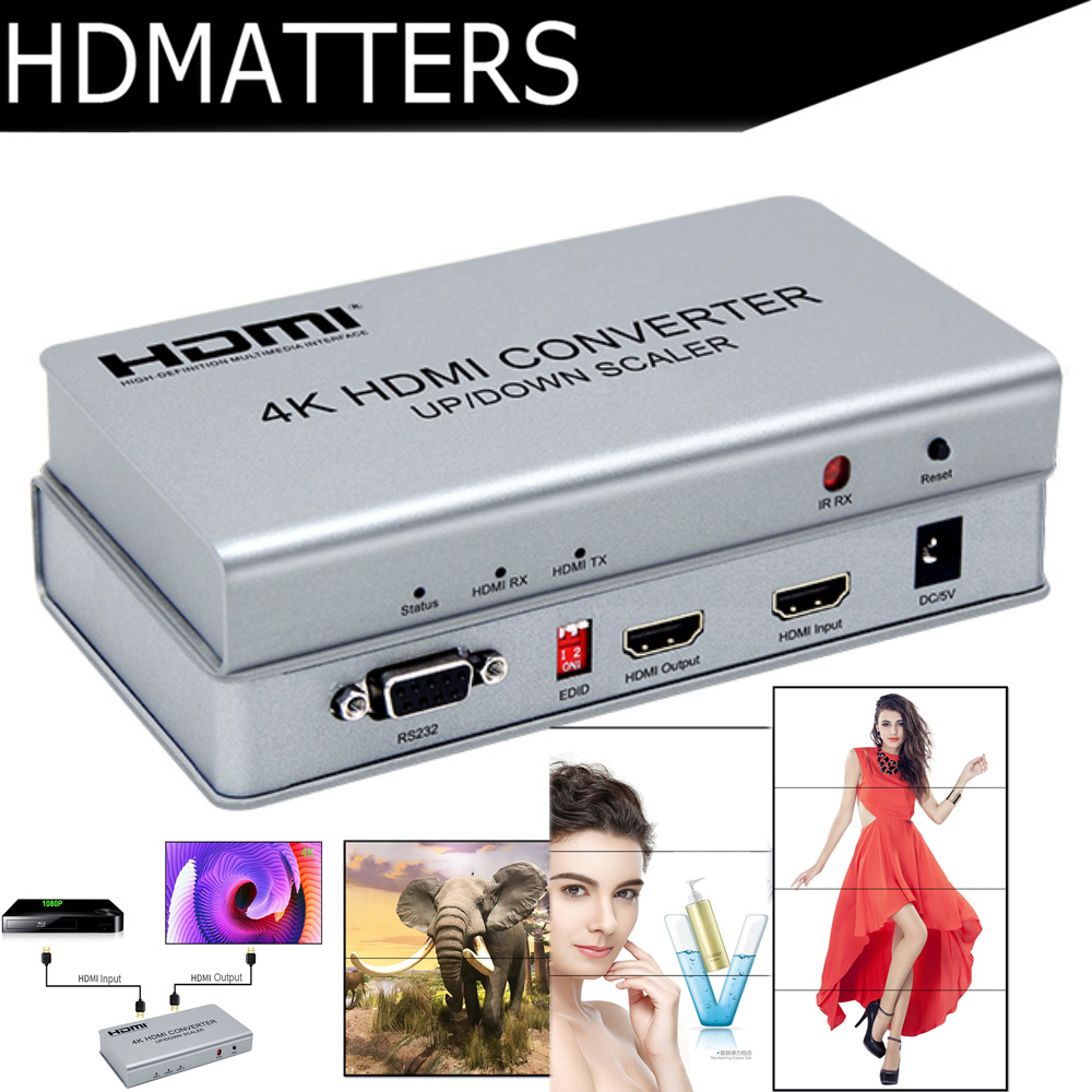 4K HDMI Scaler HDMI UP Down converter Scaler 4K 1080P 720P with video wall  controller processor functions&RS232 control
