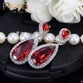 Elegante Diseño Creado Joyas de Diamantes CZ Oro Blanco Plateó Circonita Pavimentada Cuelga de Largo Rojo Del Pendiente Para Las Mujeres E235