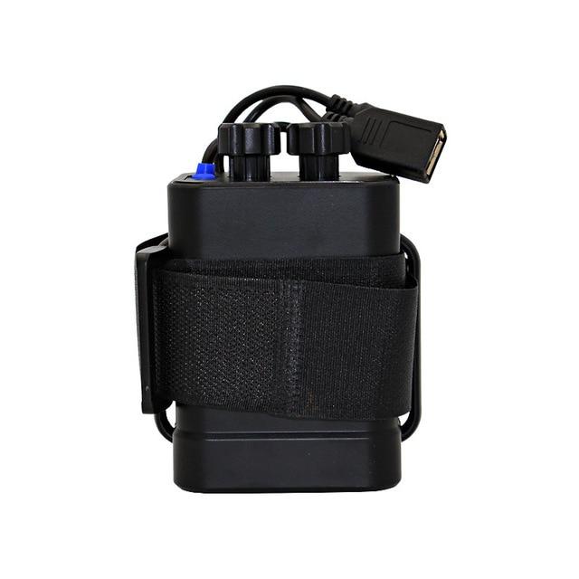Paquete de batería de plástico impermeable 6x18650, funda con soporte, salida DC/USB para lámpara de luz de bicicleta y teléfono móvil