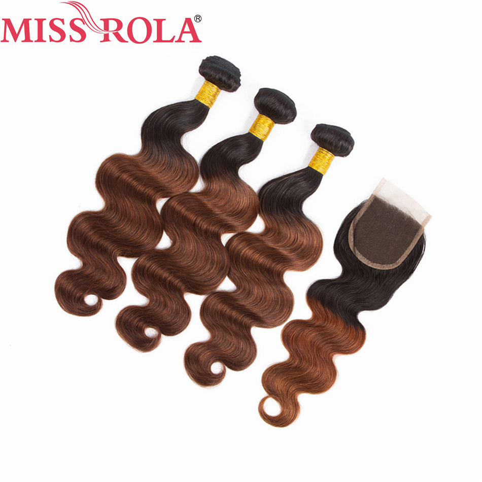 Miss Rola Hair Brazilian Body Wave Hair Weaving 3 Bundles With Closure #T1B/33 Color 100% Human Hair Non-Remy Hair Extensions