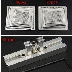 Bezpośrednio podgrzej BGA Reball Reballing Net uniwersalny zestaw szablonów szablonów zestaw srebrnych stalowych topniki spawalnicze ze stojakiem