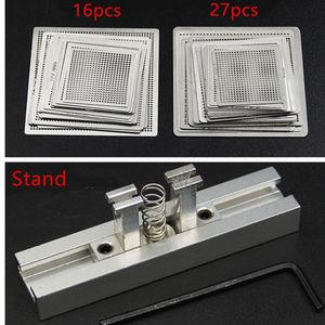 Image 1 - Calore direttamente BGA Reball Reballing Universale Stencil Template Set Kit In Acciaio Argento Flussi di Saldatura con il basamento