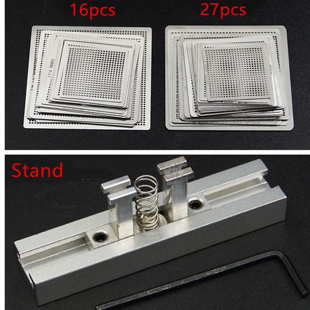 Calore direttamente BGA Reball Reballing Universale Stencil Template Set Kit In Acciaio Argento Flussi di Saldatura con il basamento