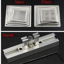 Conjunto de modelos bga, diretamente calor rede de reballing bga estêncil universal kit de fluxos de soldagem de aço prata com suporte