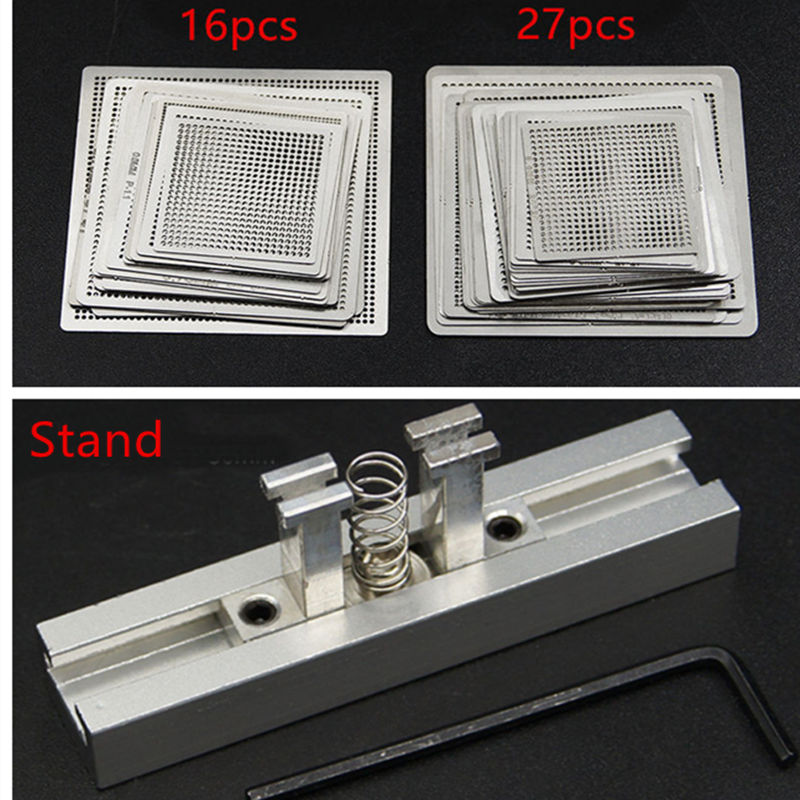 Directly Heat <font><b>BGA</b></font> Reball Reballing Net <font><b>Universal</b></font> <font><b>Stencils</b></font> Template Set Kit Silver Steel Welding Fluxes with stand image
