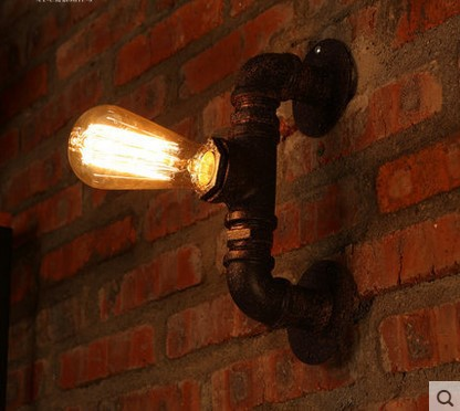 Water Pipe Edison Wall Sconce Industrial Vintage Wall Lamp Lights For Home Lighting In American Country Retro Loft Style american country industrial style wall lights loft 3 heads water pipe wall sconce vintage bronze wall lamp iron art lustre