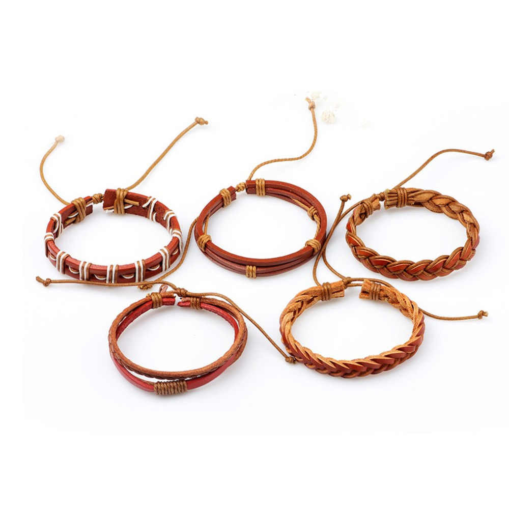 5pcs Lot Handmade Women S Bracelets Woven Multi Layer Hollow Design Pu Leather Simple Braided