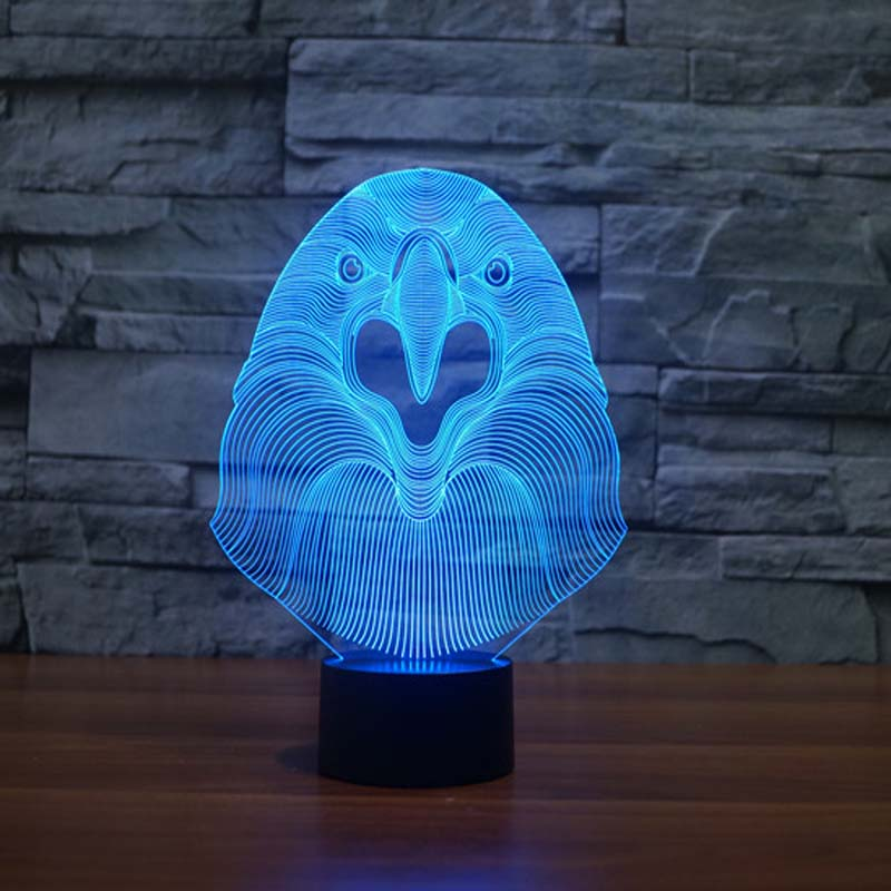 3D Night Owl Night Light In Bedroom Table Lamp Indoor Led Lamp Night  Lighting DIM 7 Color Changing Led Night Light Outlet