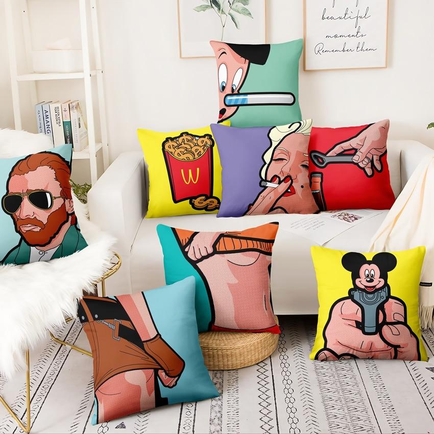 American Pop Art Funny People Printed Cushion Decorative Pillow Cartoon Illustrations Home Decor Sofa Throw Pillow 45*45cm