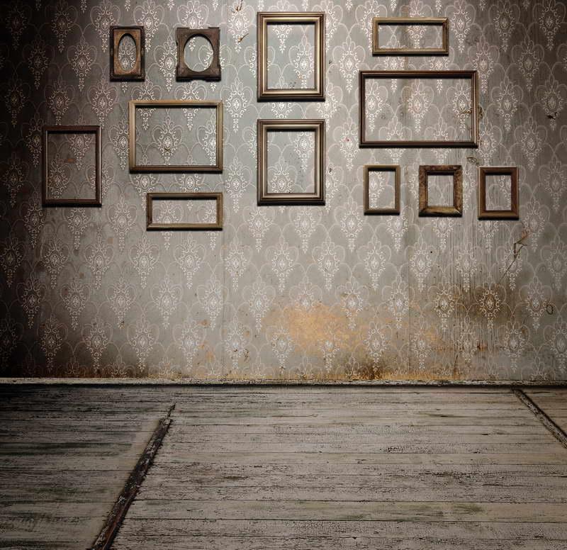 8x12ft vintage Damasco patrón de pared Marcos piso de madera maderas ...