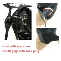 HOT! Latex Hood rubber Mask including eyes cover and mouth Gags with back zipper available with solid plug Neck ring