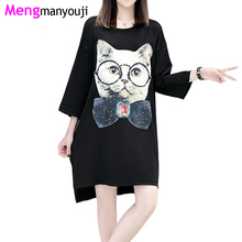 Autumn Women Cotton T Shirt Dress Large Bow Cat Print O Neck Long Sleeve Loose Casual YL3057 Plus Size Black Dress Clothing