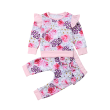 2Pcs Toddler Kid Baby Girl Long Sleeve Floral Flower Tops T shirt Pants Outfits Set Clothes 2019 цена и фото