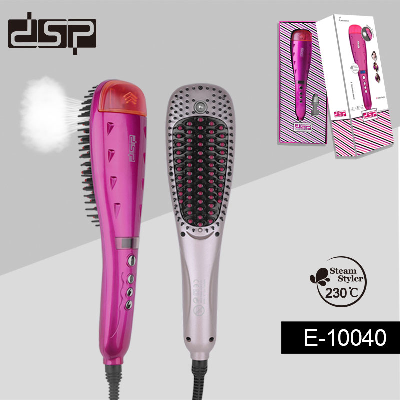 DSP Digital Electric Hair Straightener Brush Comb Ionic Steam Iron Hair Straightening Iron Perfect Styler LED Display EU Plug hair straightener led display wet