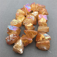 MY0097 Rough Yellow Crystal Nugget Titanium Quartz,Coated Quartz Drilled Beads for Jewelry Making