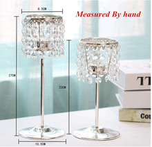 Candelabra Luxury Crystal Silver Candlestick Wedding Ceremony Decorative Candle Holder Home Metal Stand