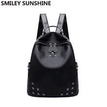 Смайлик солнце модный бренд заклепки женские рюкзак женский черный Оксфорд путешествия рюкзак для девочек Сумка женская Bagpack