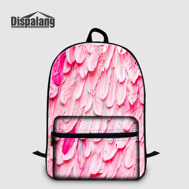 Dispalang Women Laptop Backpack Feather Animal Print Large School Bag  Casual Travel Multi-functional Laptop 4dbbd2bcf77c1