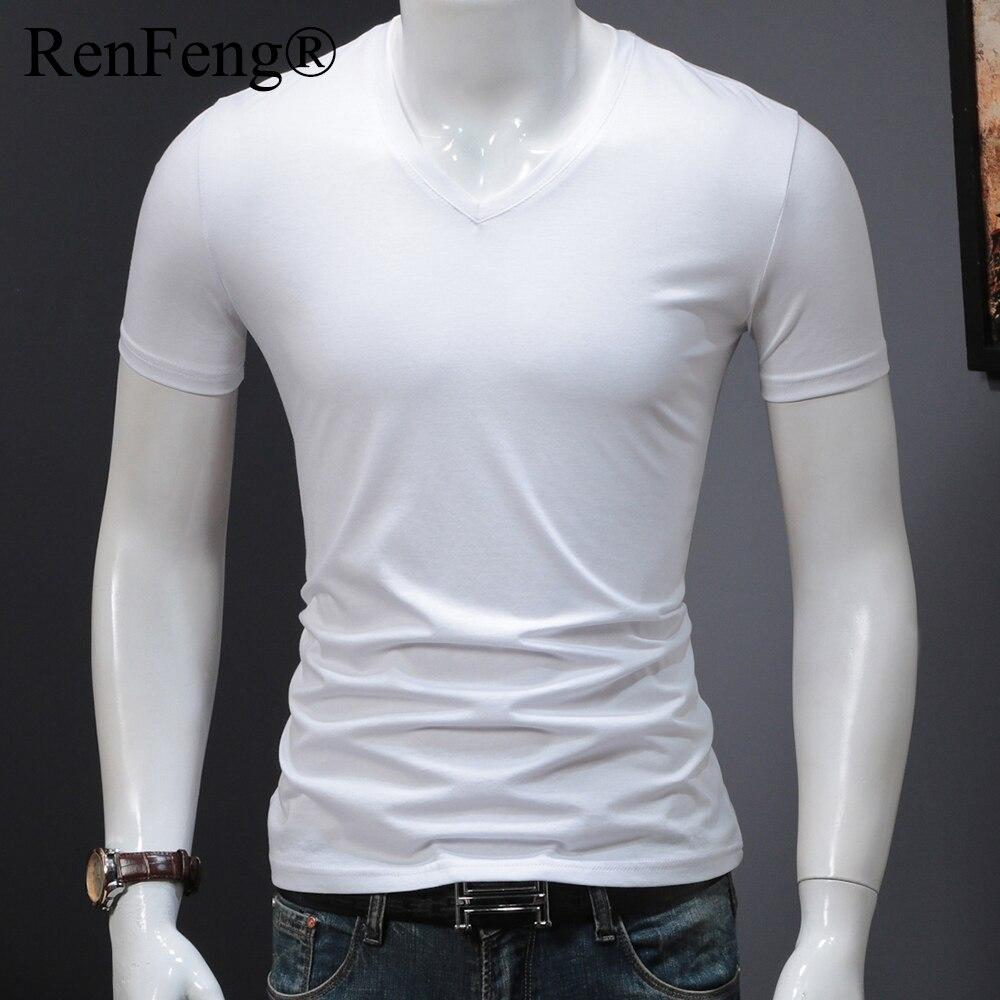 Man's Plain Ice Silk Seamless Underwear Seamless V-neck blank t shirt Men Clothes Comfortable Mens White Undershirts (20)