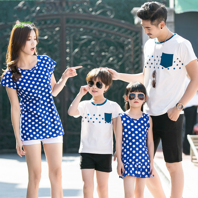 2018 New Summer Dresses Miki Babe Blue Short Sleeved T-shirt and Little Son  Full Decoration 25beeb777