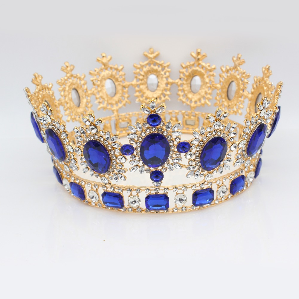 Crystal Baroque Queen Bridal Tiara Crown For Women Wedding Hair Jewelry Accessories Sparkling Top Bride Prom
