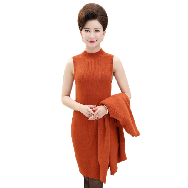 Kleid orange grau