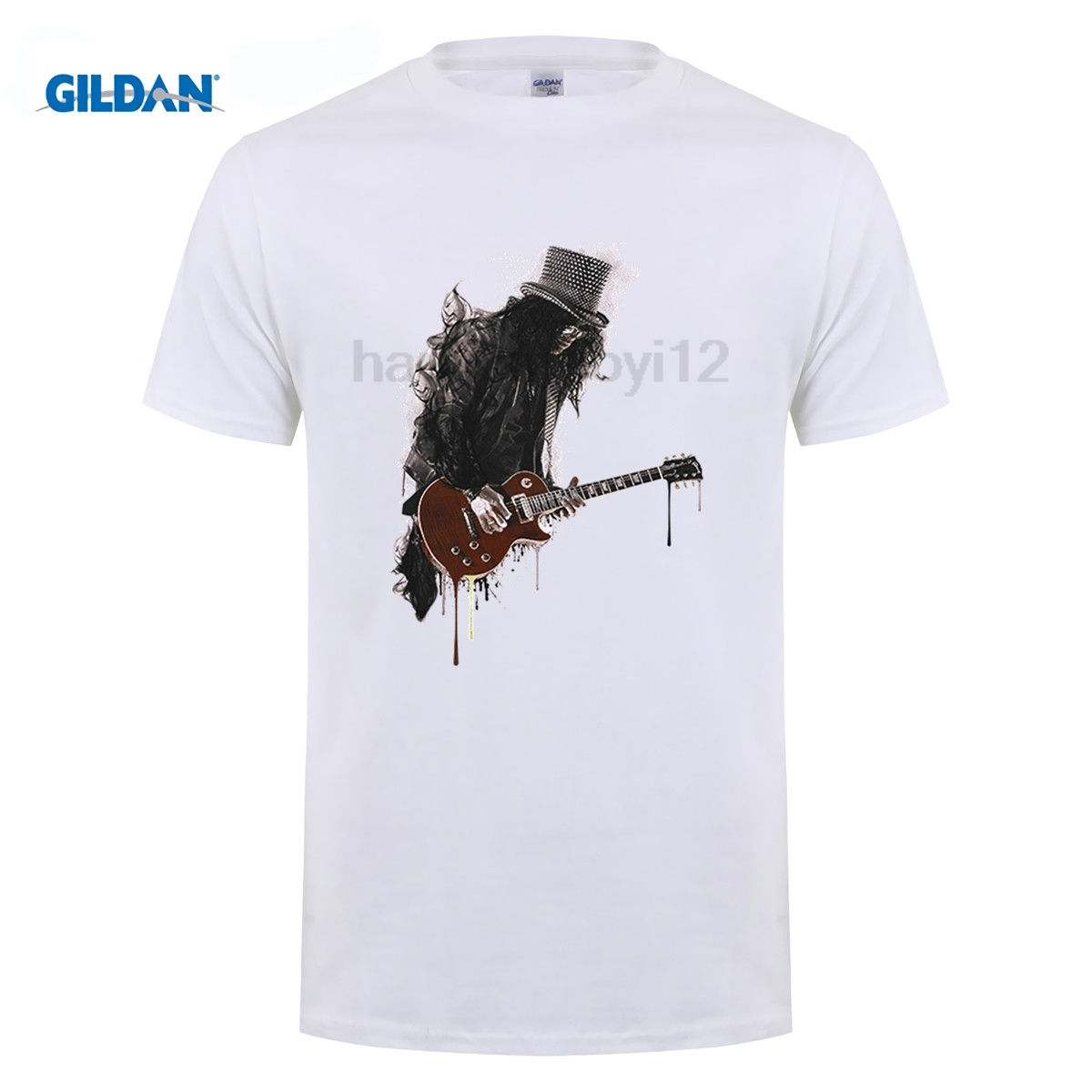 GILDAN Slash T Shirt for Men Guitar Rock Ink Style Gun Music Roses Man Short Sleeve T-Shirt Best Selling Tops Funny Tees