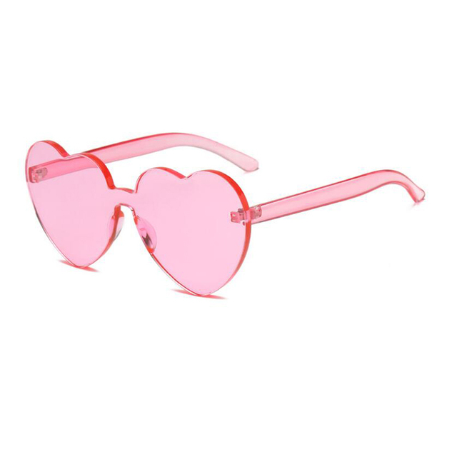 4668a698cd3 Love Heart Shape Sunglasses Women 2018 Rimless Frame Tint Clear Lens  Colorful Sun Glasses Red Pink