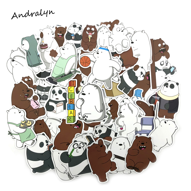 36Pcs/lot Cartoon Cute Little Bear Sticker Toys PVC Waterproof Graffiti Sticker For Laptop Luggage Toy Car Styling