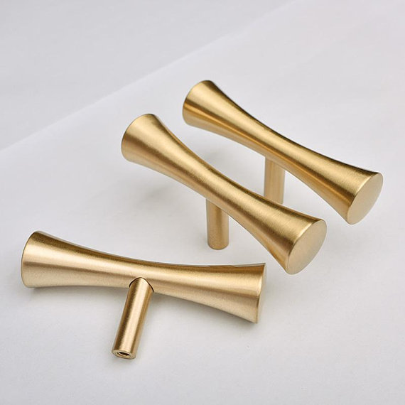 Pure Copper Cabinet Handles T Bar Pulls Brushed Gold Brass Drawer Knobs Pull Handles Dresser Pulls Kitchen Door Knobs in Cabinet Pulls from Home Improvement