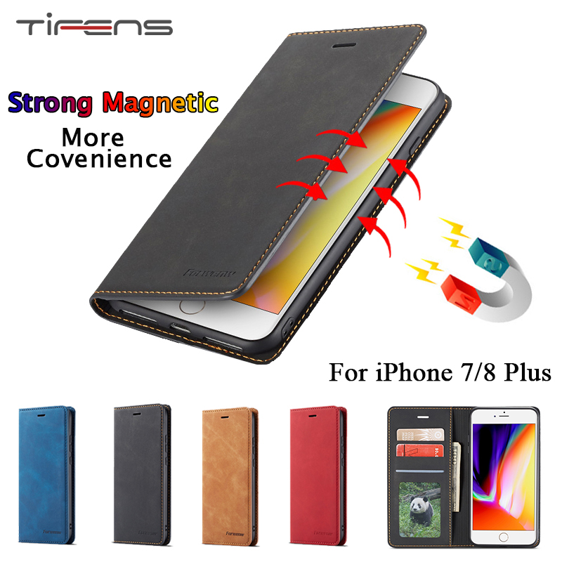 Magnetic Flip <font><b>Case</b></font> For <font><b>iPhone</b></font> 7 <font><b>8</b></font> <font><b>Plus</b></font> 8plus Luxury <font><b>Leather</b></font> Wallet Card Holder Stand Protection Cover Etui For iPhone7plus Funda image