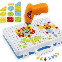 Crianças broca elétrica brinquedo porca desmontagem jogo ferramenta modelo criativo mosaico quebra cabeça brinquedo educativo para o menino design de construção presente