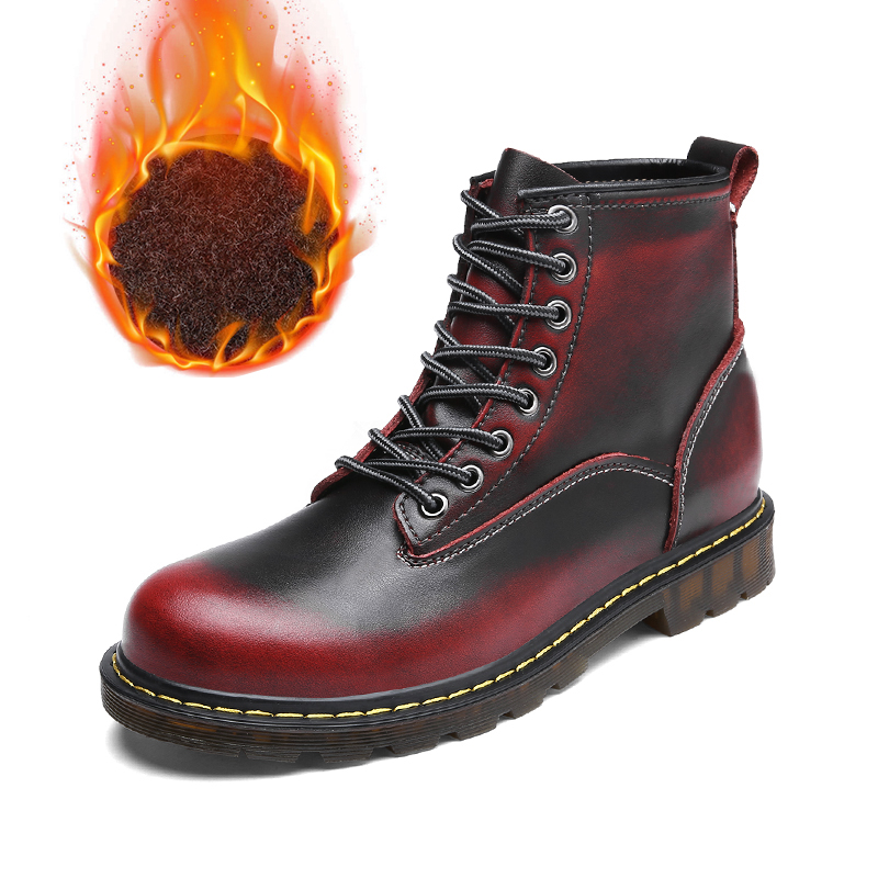 Men's Boots Reasonable Leather Working Safety Shoe For Men Winter With Fur Men Casual Boots Rubber Sole Mart Boots Male British Retro Fashion Boots Preventing Hairs From Graying And Helpful To Retain Complexion Back To Search Resultsshoes
