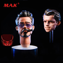 High Quality 1:6 Scale Iron Man Tony Spiderman Model Head Sculpt fit 12 Action Figure for Collection цена